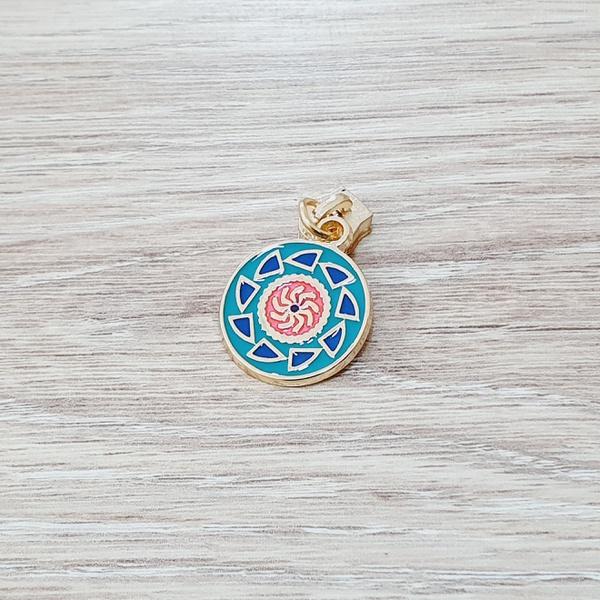 Cursor Mandala fundo turquesa - Dourado - RS375-tu... - BOUTIQUEDASRENDAS