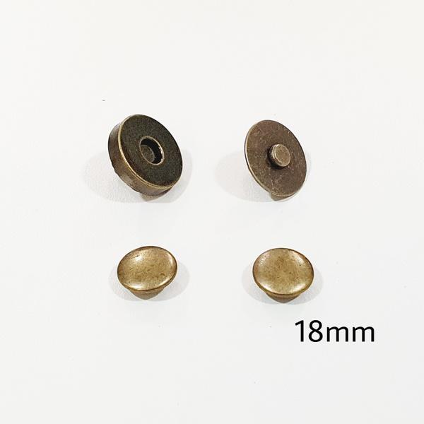Botão de ímã DUPLO com rebite 18mm - Ouro Velho (p... - BOUTIQUEDASRENDAS