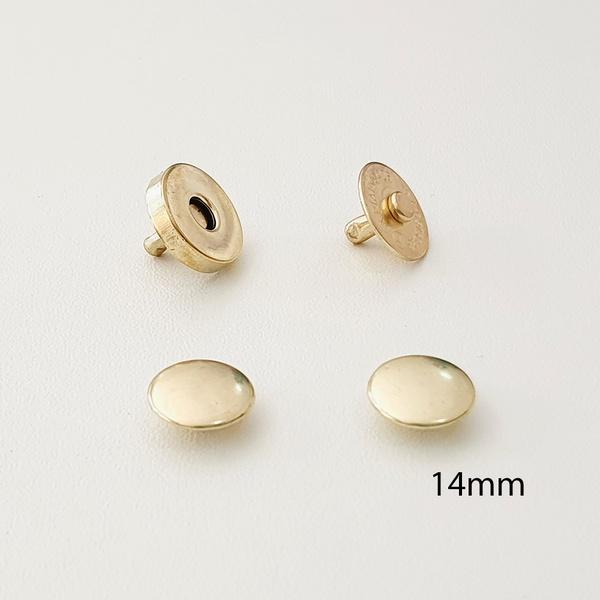 Botão de ímã DUPLO com rebite 14mm - Dourado (pact... - BOUTIQUEDASRENDAS