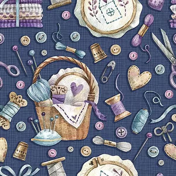 Tecido Digital Ítens de Costura - Marinho - CO001 - BOUTIQUEDASRENDAS