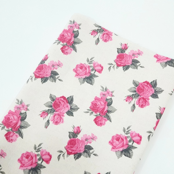 Tecido Linho Misto Estampado - Floral Pink - 484.V... - BOUTIQUEDASRENDAS