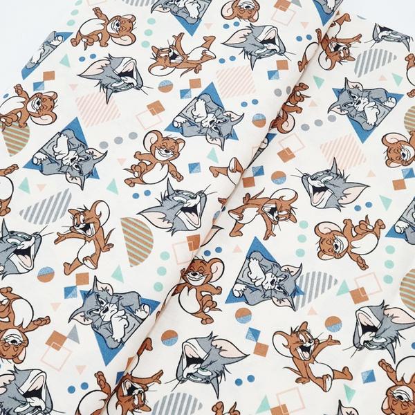 Tecido Tricoline Tom Jerry brincando azul - 777-00... - BOUTIQUEDASRENDAS