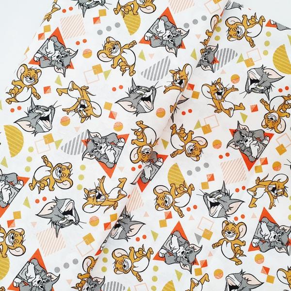 Tecido Tricoline Tom Jerry brincando laranja - 777... - BOUTIQUEDASRENDAS