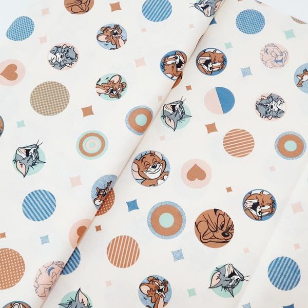 Tecido Tricoline Tom Jerry círculo azul - 777-004-... - BOUTIQUEDASRENDAS