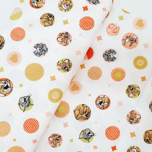 Tecido Tricoline Tom Jerry círculo laranja - 777-1... - BOUTIQUEDASRENDAS