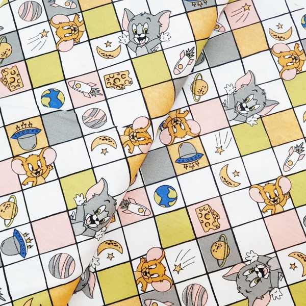 Tecido Tricoline Tom Jerry quadriculado fd bege cl... - BOUTIQUEDASRENDAS