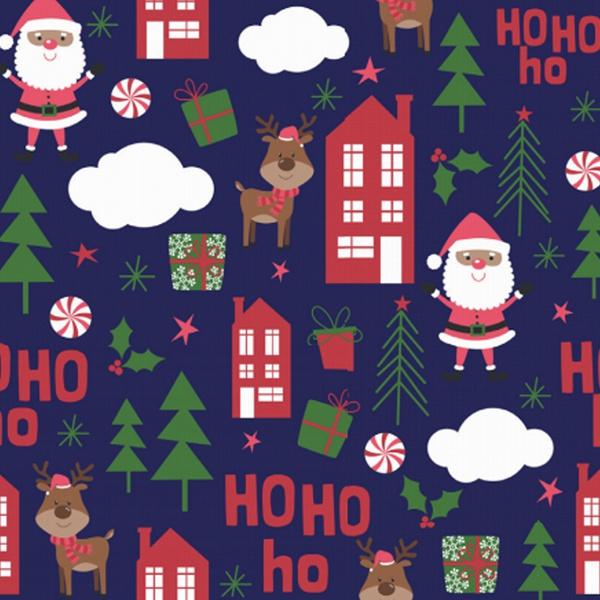 Tecido Tricoline 100% algodão Papai Noel fundo azu... - BOUTIQUEDASRENDAS