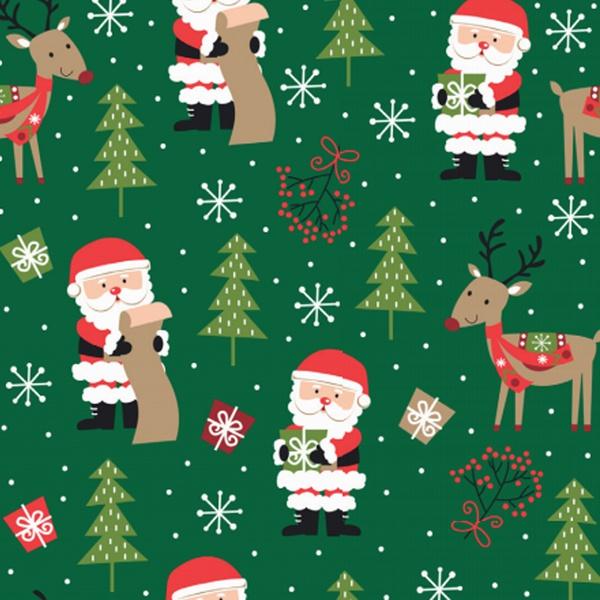 Tecido Tricoline 100% algodão Papai Noel e Rena fu... - BOUTIQUEDASRENDAS