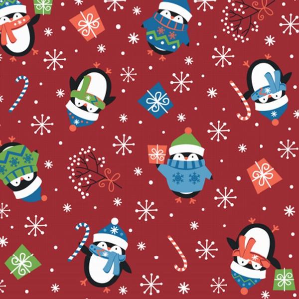 Tecido Tricoline 100% algodão Pinguim fundo vermel... - BOUTIQUEDASRENDAS