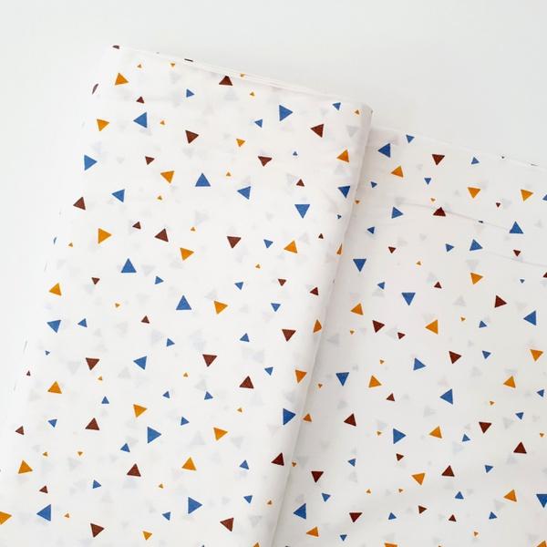 Tecido Tricoline Triângulo - Marinho e Laranja - 4... - BOUTIQUEDASRENDAS