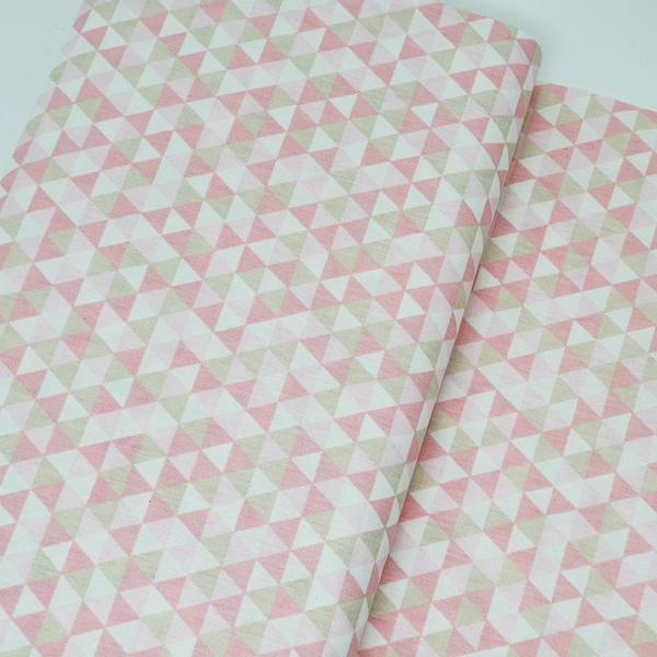 Tecido Tricoline Triângulo - Rosa e bege - 482-114... - BOUTIQUEDASRENDAS