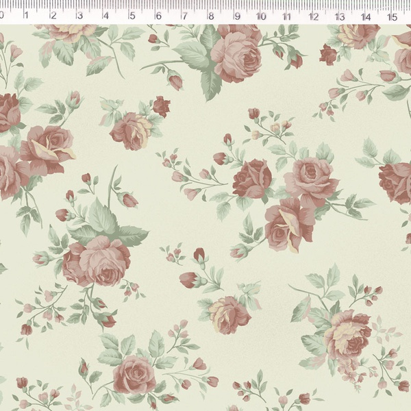 Tecido Tricoline Floral Médio Bege - (0,50cm x 1,5... - BOUTIQUEDASRENDAS