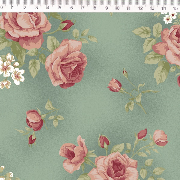 Tecido Tricoline Floral grande fundo verde - (0,50... - BOUTIQUEDASRENDAS