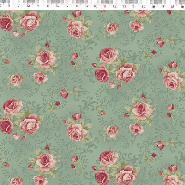 Tecido Tricoline Floral médio fundo verde arabesco... - BOUTIQUEDASRENDAS