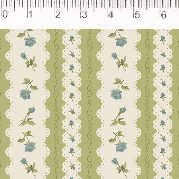 Tecido Tricoline Listrado Verde com Flor - (0,50cm... - BOUTIQUEDASRENDAS