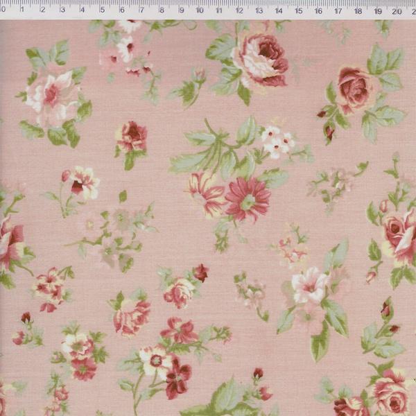 Tecido Tricoline Floral Médio Rosa - (0,50cm x 1,5... - BOUTIQUEDASRENDAS