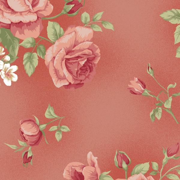 Tecido Tricoline Floral Rosê grande fundo goiaba -... - BOUTIQUEDASRENDAS