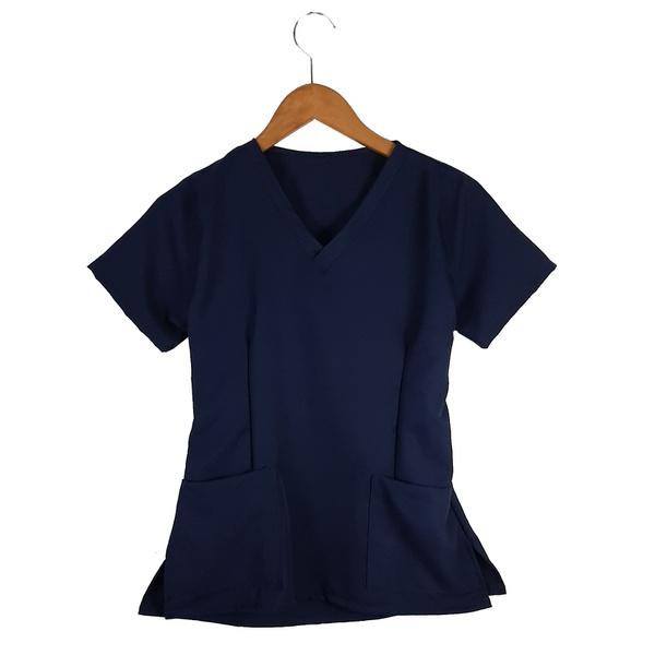 Camisa Scrub Basic - Pijama Cirúrgico Azul Marinho em Gabardine