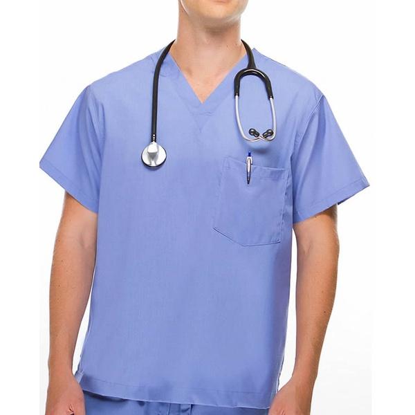 Camisa Scrub - Pijama Cirúrgico Azul Celeste em Algodão Unissex
