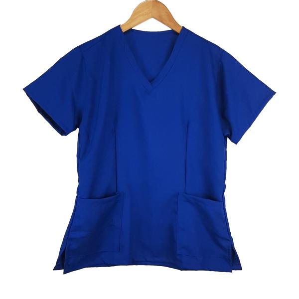Camisa Scrub Basic Pijama Cirurgico Azul Royal