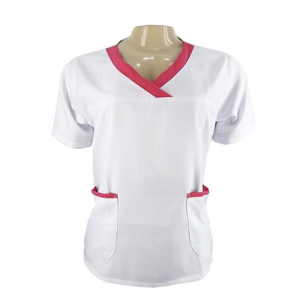 Camisa Scrub - Pijama Enfermagem Dayse c/ Detalhes Rosa