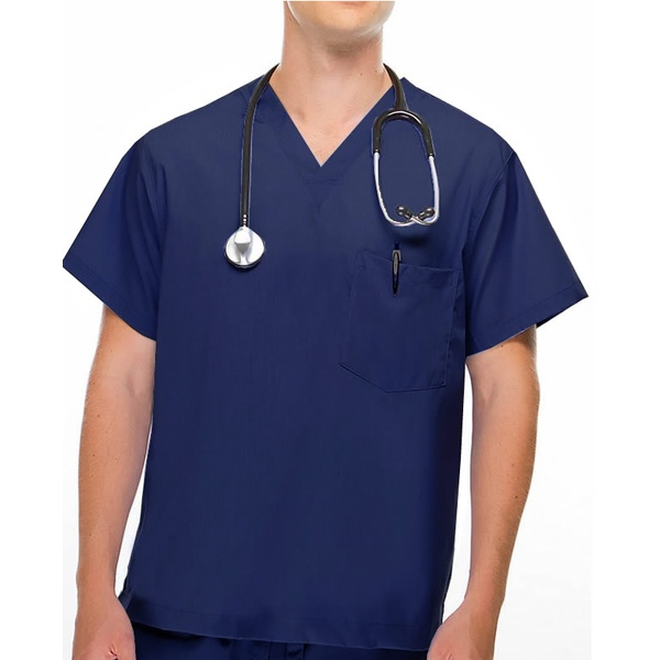 Camisa Scrub - Pijama Cirúrgico Azul Marinho Brim Algodão