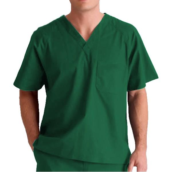 Camisa Scrub Unissex Verde Escuro em Algodão - Pijama Cirúrgico