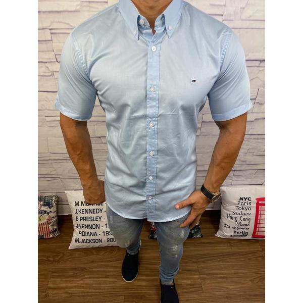 Camisa Manga Curta Tommy Azul Claro