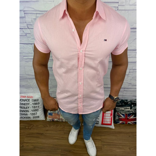 Camisa Manga Curta TH - Rosa Escuro⭐