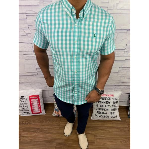 Camisa Manga Curta RL Quadriculado Verde Agua