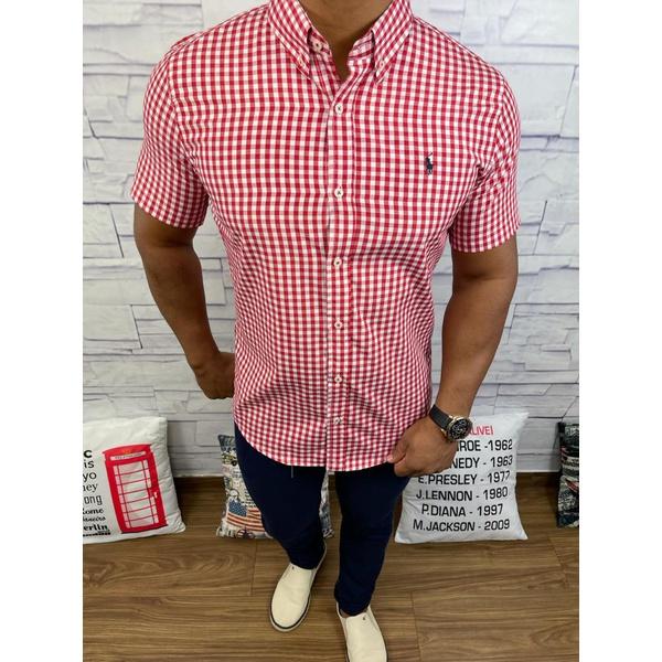 Camisa Manga Curta RL Xadrez vermelho, logo Preto