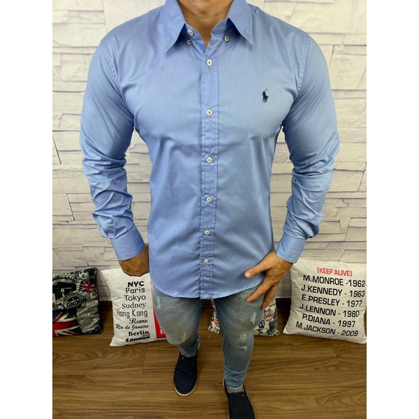 Camisa Manga Longa RL Azul Cavalo Preto
