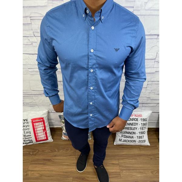 Camisa Manga Longa Armani Azul Royal listrado