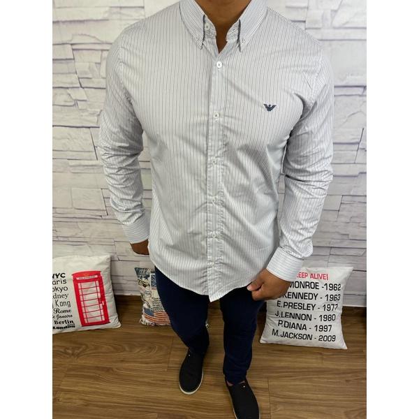 Camisa Manga Longa Armani Listrado largo azul e cinza