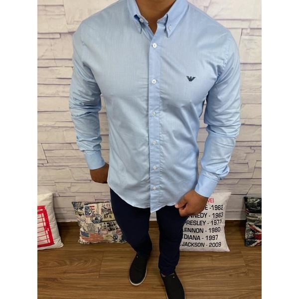 Camisa Manga Longa Armani Azul claro⭐