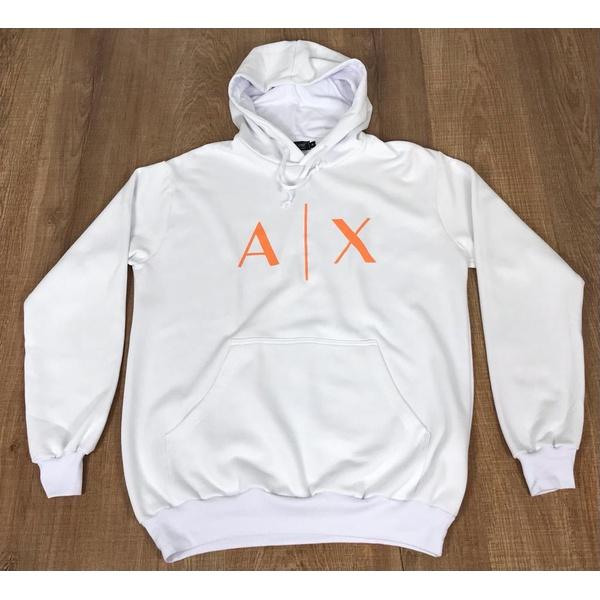Blusa de Frio Armani Branco Logo Laranja