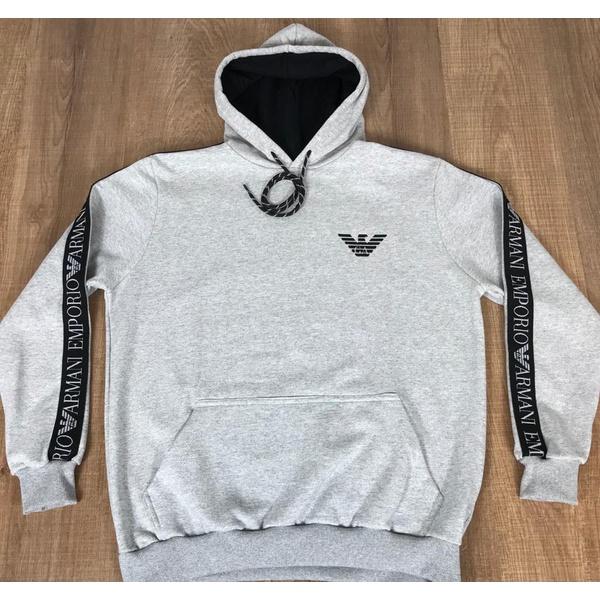 Blusa de Frio Armani Cinza Riscado Logo Diferenciado