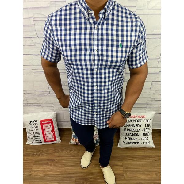 Camisa Manga Curta RL Quadriculado azul marinho, logo verde