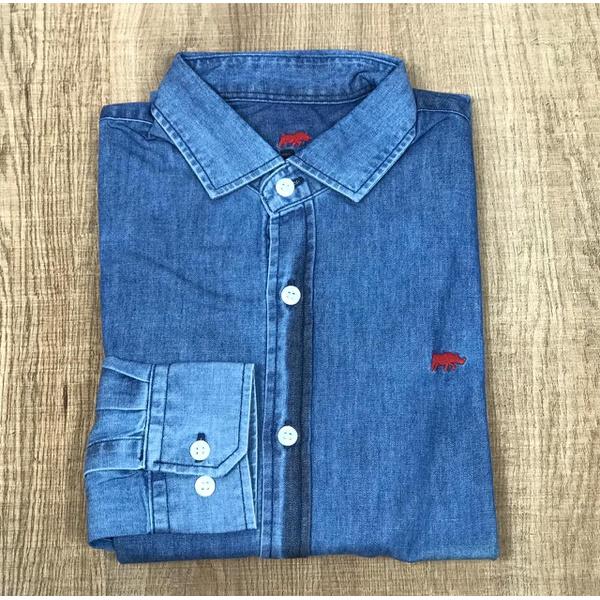 Camisa Manga Longa DG Jeans Detalhe Vermelho