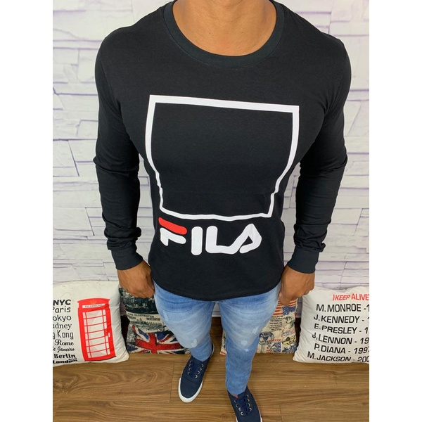 Camiseta Manga Longa Fila - Preta