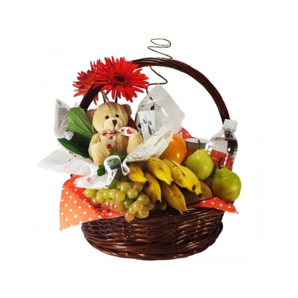 Cesta de Flores e Frutas