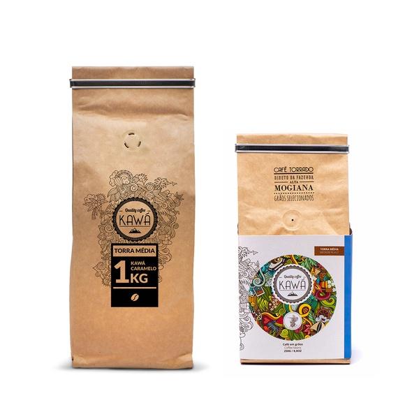 KIT 1KG + 250G em grãos - Café Kawá
