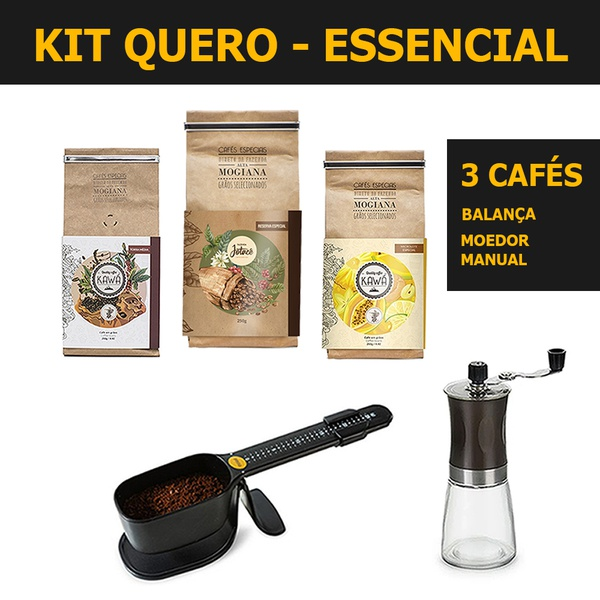 KIT QUERO ESSENCIAL - Cafés, moedor e balança