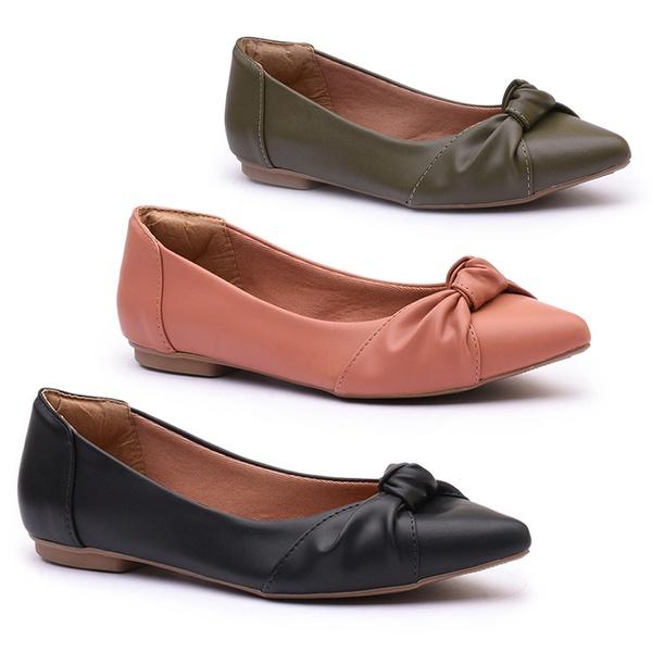 Kit 3 sapatilhas em cores diversas