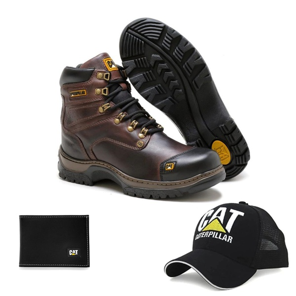 Bota Caterpillar Second Shift Plus 2 Marrom Látego 2189 + Boné Trucker CAT Preto + Carteira