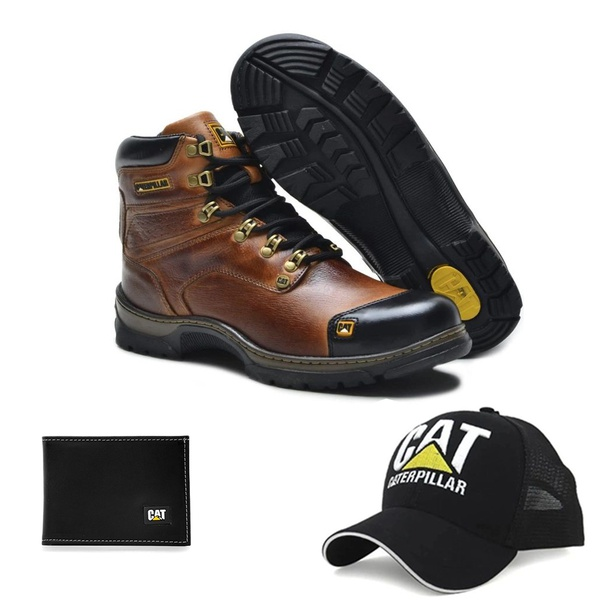 Bota Caterpillar Second Shift Plus 2 Avelã Látego 2189 + Boné Trucker CAT Preto + Carteira