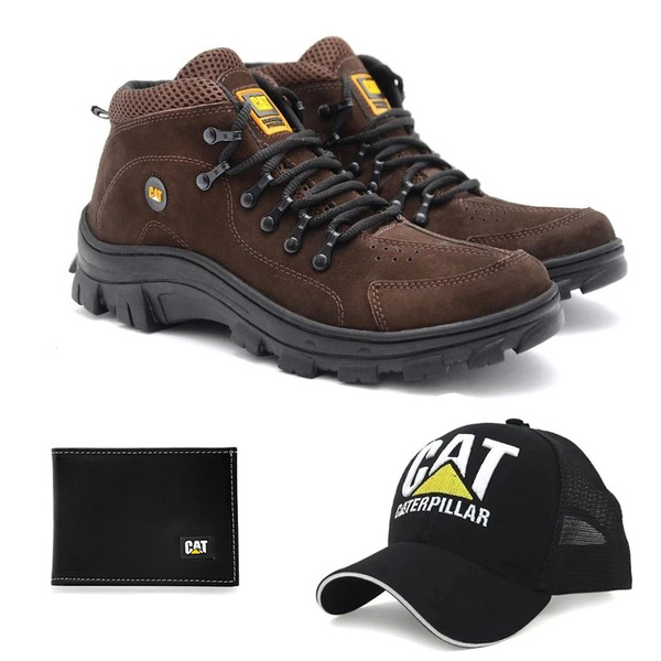 Bota Caterpillar Adventure Marrom 1015 + Boné Trucker CAT Preto + Carteira