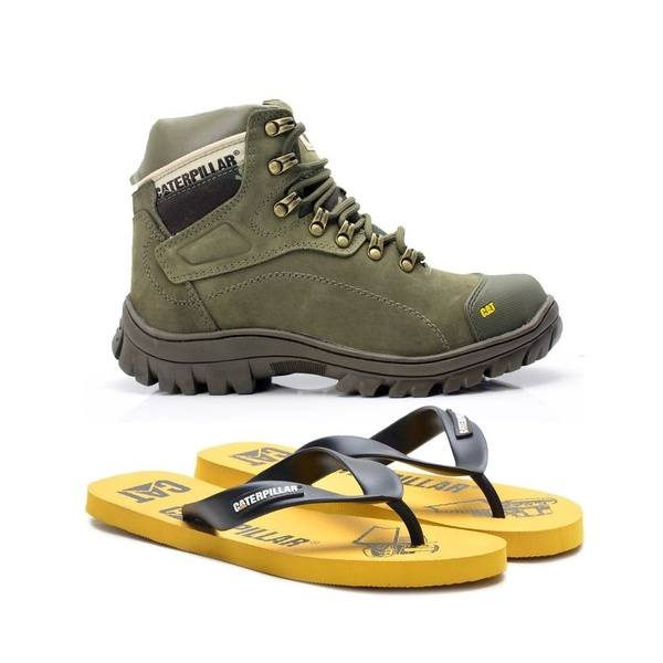 Bota Caterpillar Verde 9820 + Chinelo CAT Borracha Amarelo