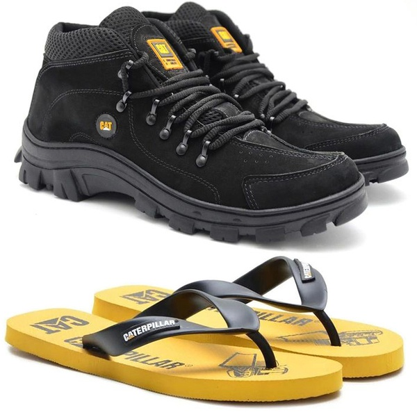Bota Caterpillar Adventure Preto 1015 + Chinelo CAT de Borracha Amarelo