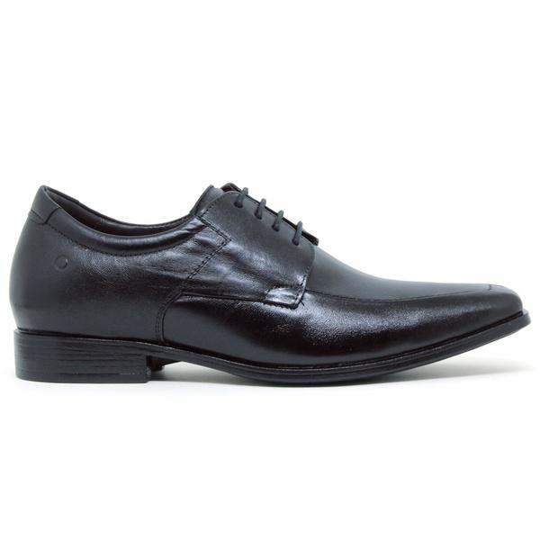 Sapato Social Cosmo Strech Taller Democrata - Preto (Com Cadarço)